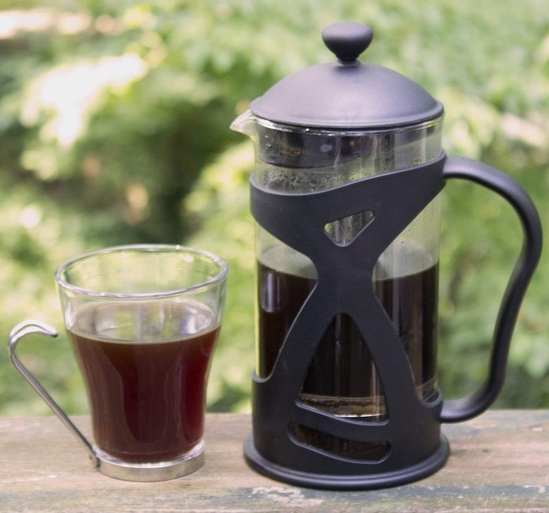 Australia KONA French Press Coffee Maker With Reusable Stainless Steel Filter, Large Comfortable Handle & Glass Protecting Durable Black Shell