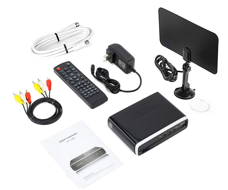 Digital Converter Box + Flat Antenna + Coaxial Cable for Over The Air TV - No Subscriptions Needed - Instant & Scheduled Recording, 1080P HD 7 Day Guide & LCD Screen
