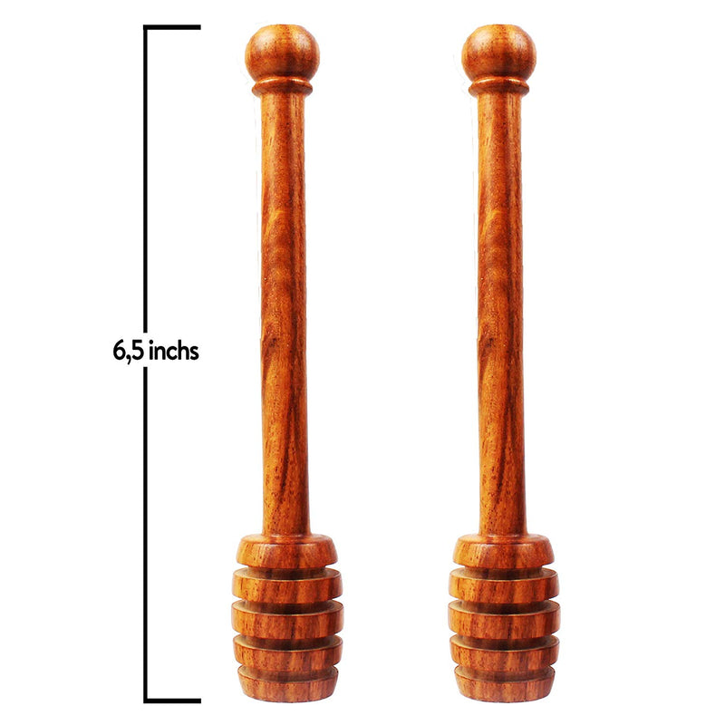 2 PACK ITALIAN OLIVE WOOD Honey Dipper Sticks by BIBI HONEY - 6.5 Inch Wooden Syrup Dippers - Honeycomb Sticks Perfect for Drizzling Honey | Maple Syrup | Chocolate | Caramel - Honey Spoons