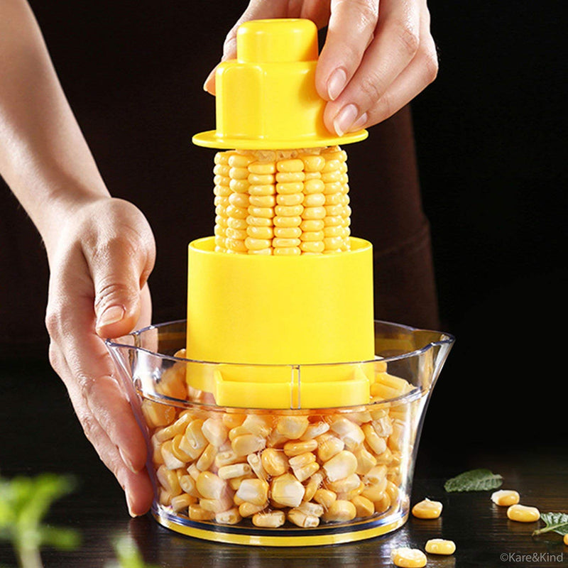 Australia Beaverve Corn Stripper, 4 in 1 Corn Shucker Tool Corn Holder, Corn Stripping Tool Corn Cutter & Remover with Built-In Measuring Cup Grater, Corn Kernel Remover Ginger Grater, No Electricity No Noise