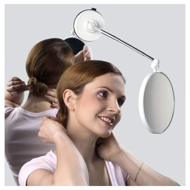 Telescoping Twistmirror 10X to 1X Suction Cup Magnifying Travel Mirror, White Base