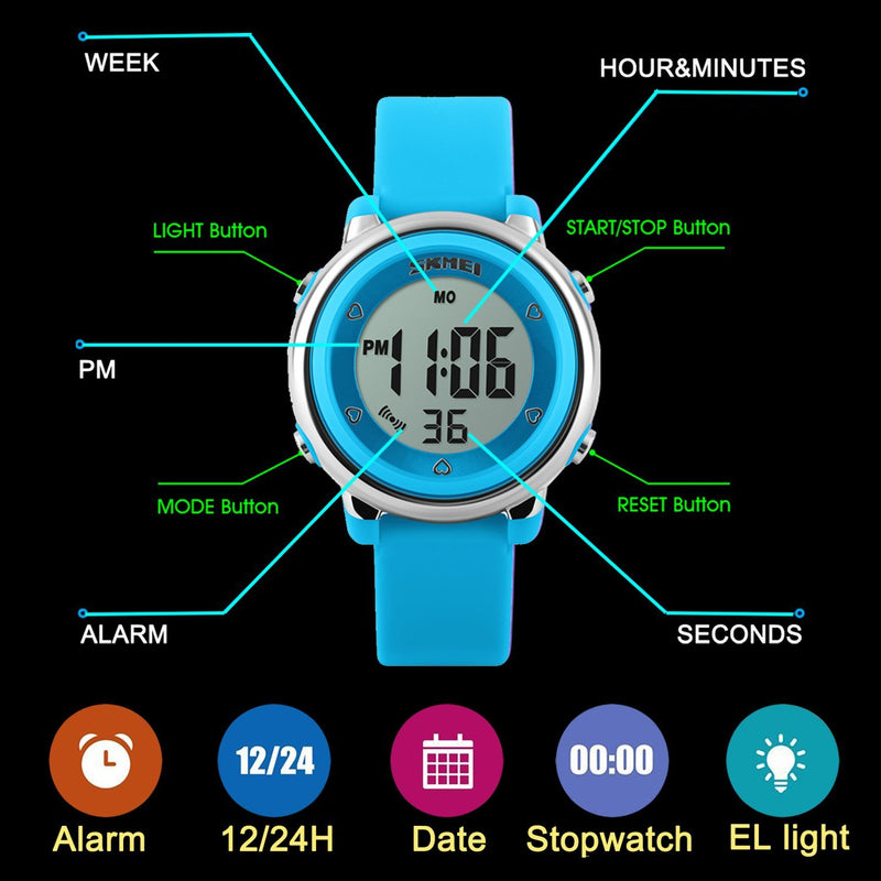 USWAT Kid Watch Multi Function 50M Waterproof Sport LED Alarm