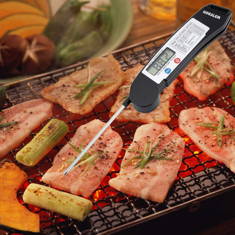 Australia GDEALER DT1 Digital Instant Read Meat Thermometer with Folding Probe Backlight Function Temperature Guide for for Kitchen Food Candy BBQ Grill Cooking Smoke Deep Fry Black
