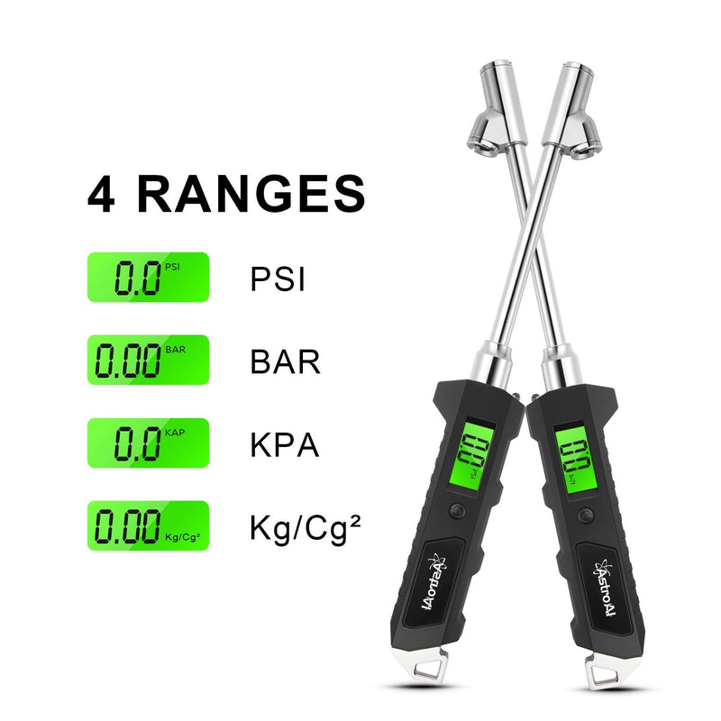 AstroAI Digital Tire Pressure Gauge, 180 PSI RV Heavy Duty Dual Head Stainless Steel Made for Truck Car with Larger Backlit LCD and Flashlight, Black - CocoonPower Australia
