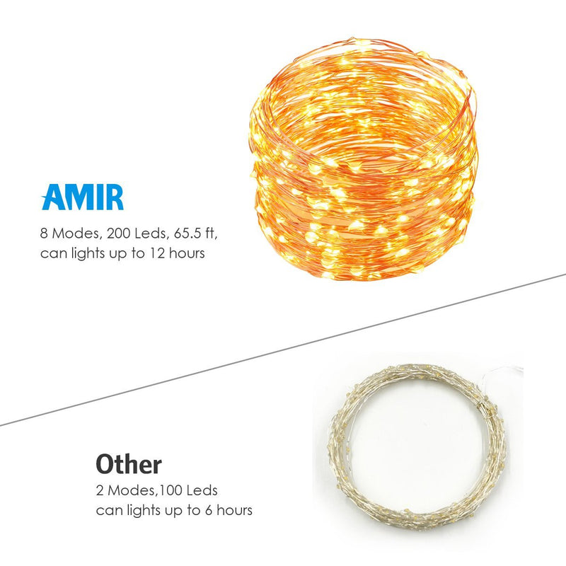 Australia Australia AMIR Solar Powered String Lights, 200 LED Copper Wire Lights, 72ft 8 Modes Starry Lights, Waterproof IP65 Fairy Christams Decorative Lights for Outdoor, Wedding, Homes, Party, Halloween (Warm White)