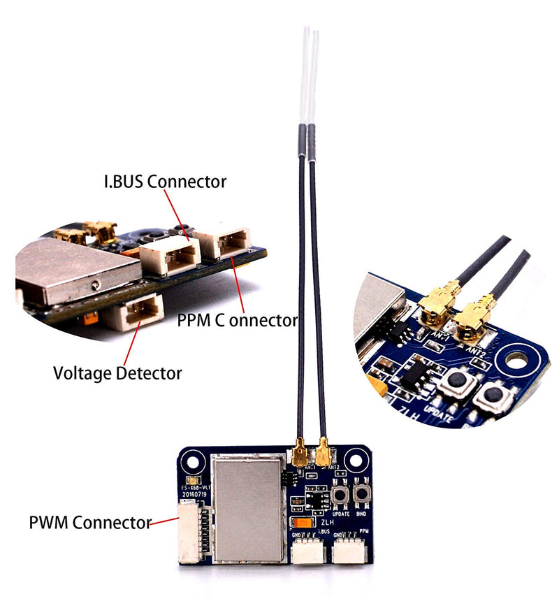 Australia FPVKing Flysky FS-X6B Receiver 6 CH 2.4G i-Bus PPM PWM Receiver for AFHDS i10 i6s i6 i6x i4x Transmitter with 250mm Lipo Battery Strap