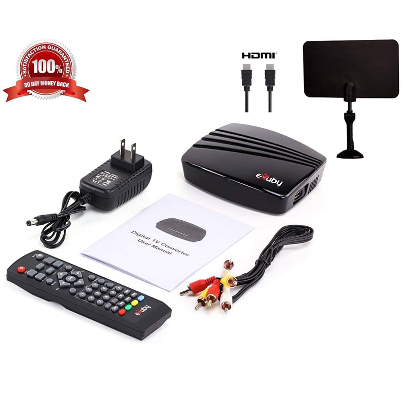 Digital Converter Box + Digital Antenna + HDMI and RCA Cable - Complete Bundle to View and Record HD Channels For FREE (Instant or Scheduled Recording, 1080P HDTV, HDMI Output And 7 Day Program Guide)