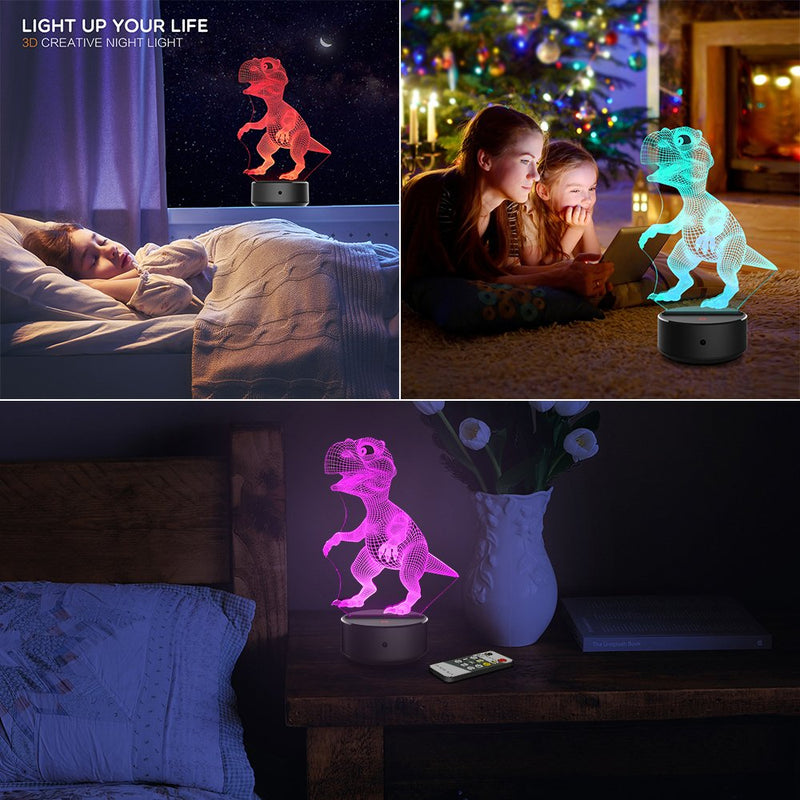 Australia Night Light 3D Dinosaur 3D Lamp Optical Illusion Kids Night Light Animals 7 Colors Change LED Touch Table Desk Lamps with Remote for Boys Girls Bedroom Birthday Gifts (Dinosaur)