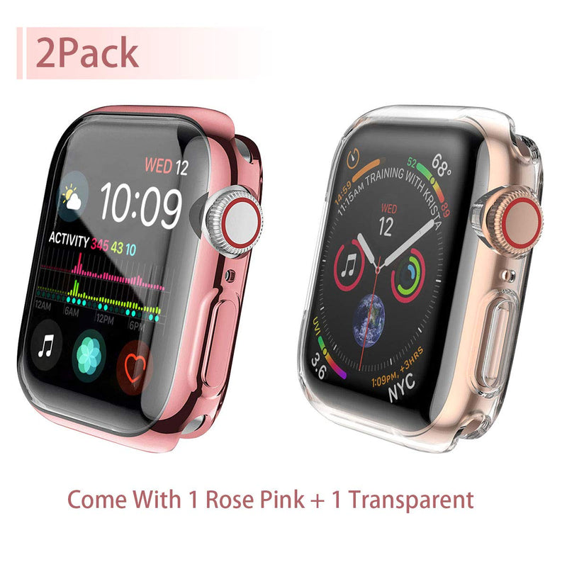 [2-Pack] Julk Case for Apple Watch Series 4 Screen Protector 40mm, 2018 New iWatch Overall Protective Case TPU HD Ultra-Thin Cover for Apple Watch Series 4 (1 Rose Pink+1 Transparent)
