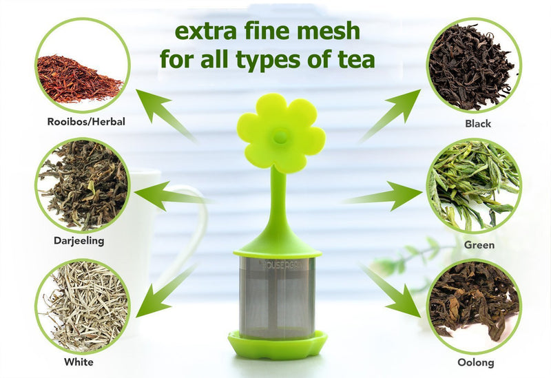 House Again 4-pack Extra Fine Mesh Tea Infuser with Drip Tray - 18/8 Stainless Steel Fine Mesh Tea Cup with BPA-Free Silicone Lid - Perfect Tea Balls Tea Strainers