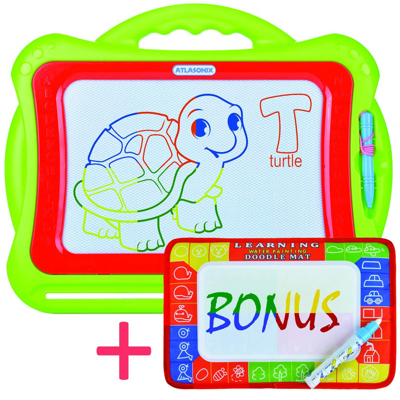 Australia Atlasonix Magnetic Drawing Board for Kids and Toddlers | Large Colorful Magna Doodle Pad Plus Magic Aqua Mat | Educational Toy for All Ages - Girls and Boys