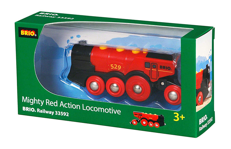 Australia Brio World 33592 Mighty Red Action Locomotive | Battery Operated Toy Train with Light and Sound Effects for Kids Age 3 and Up