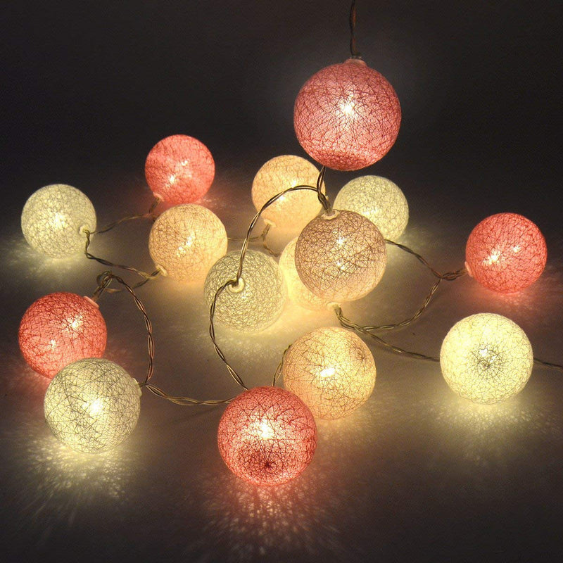 Australia Gardeningwill 3M/10Ft 30 Pink White Cotton Ball LED Xmas Wedding Battery Operated String Fairy Light