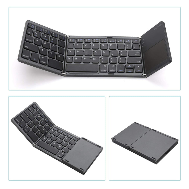 Foldable Bluetooth Keyboard with Rechargable Li-ion Battery PC Windows Tablet Jelly Comb Pocket Size Portable Mini BT Wireless Keyboard with Touchpad for Android