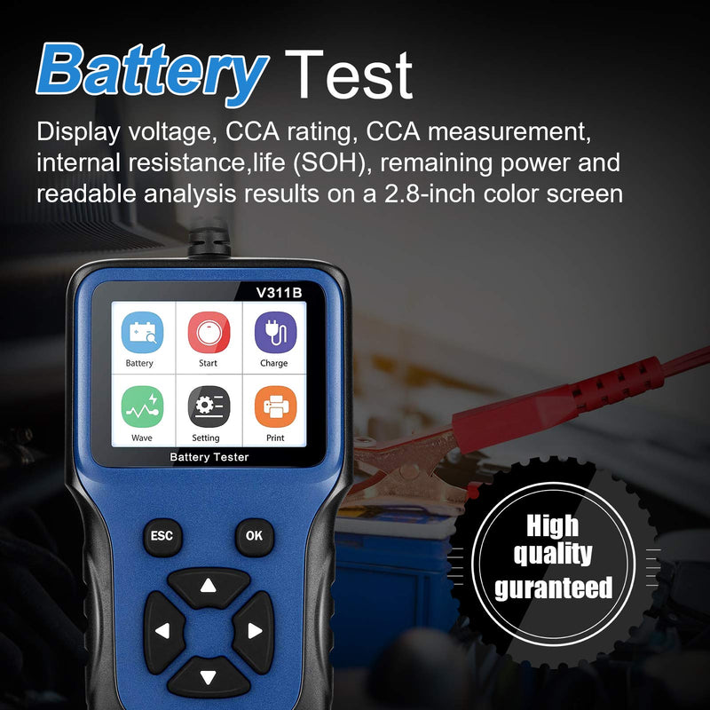 LNEX Car Battery Tester, 2.8'' LCD Color Screen, 100-2000CCA Fast Accurate 12V Battery Load Tester, Cranking and Charging System Digital Battery Analyzer for Car Truck Motorcycle ATV SUV Boat Yacht - CocoonPower Australia