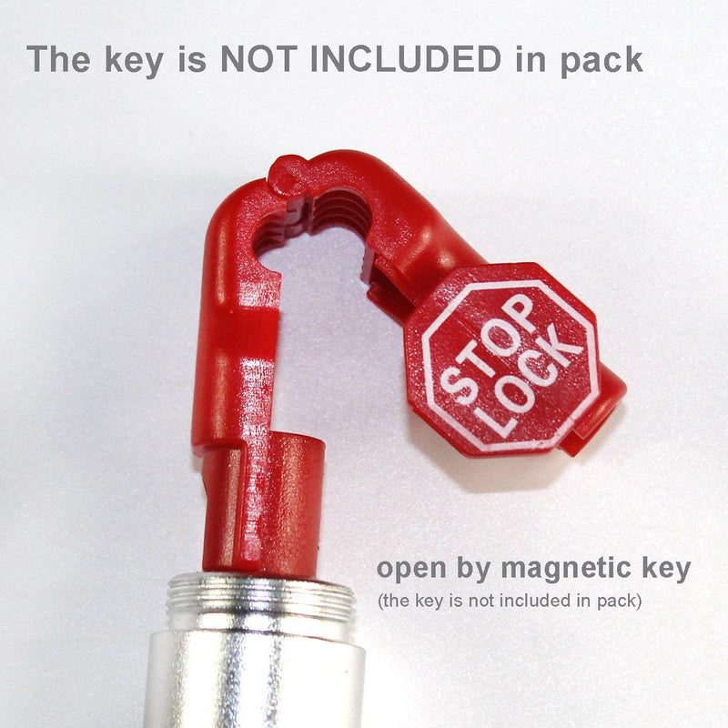 Peg Hook Stop Lock for Prevent The Sweep Theft of Displayed Products on A Wire Peg, Plastic Red 6mm Security Lock, Retail Shop Anti-Theft Display Slatwall and Pegboard Hook Lock (Red Stop Locks)