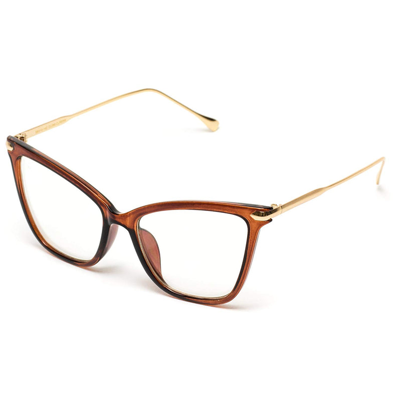 Australia WearMe Pro - New Elegant Oversized Clear Cat Eye Non-Prescription Glasses, Brown