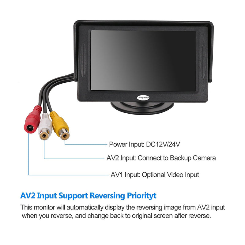Australia Backup Camera and Monitor Kit For Car,Universal Wired Waterproof Rear-view License Plate Car Rear Backup Camera + 4.3 LCD Rear View Monitor