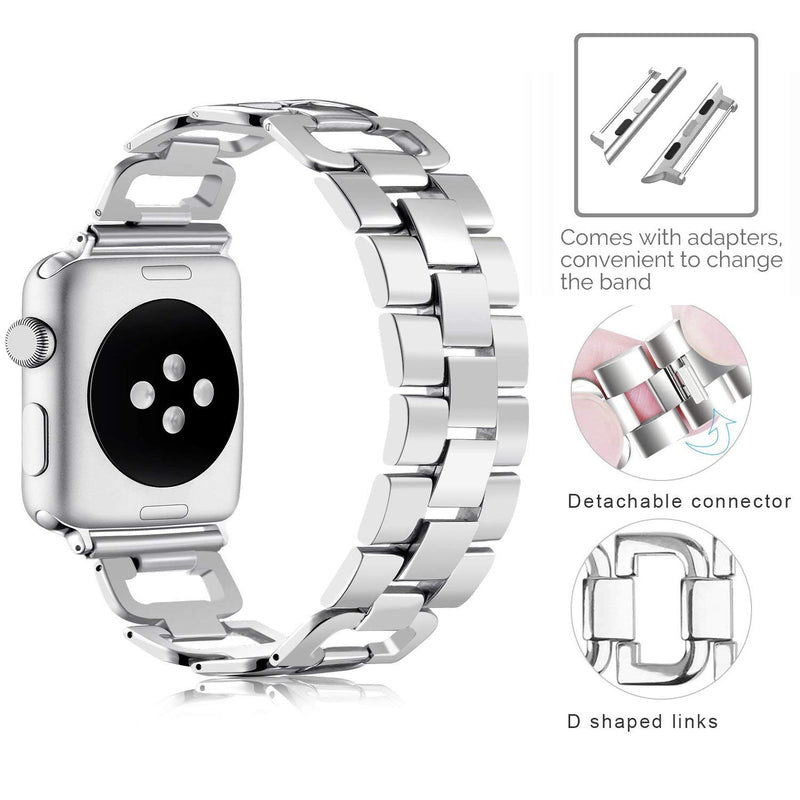 OULUCCI Stainless Steel Band Compatible Apple Watch Band 38mm 40mm Women Iwatch Series 4, Series 3, Series 2 1 Accessories Metal Wristband D-Link Sport Strap Silver (No Tool Needed)
