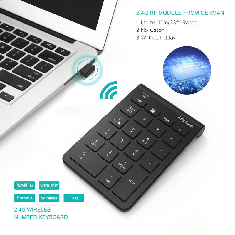 Australia Wireless Number Pad, Jelly Comb N030 Portable Mini USB 2.4GHz 22-Key Financial Accounting Numeric Keypad Keyboard Extensions for Data Entry in Excel for Laptop, PC, Desktop, Surface pro, Notebook, etc