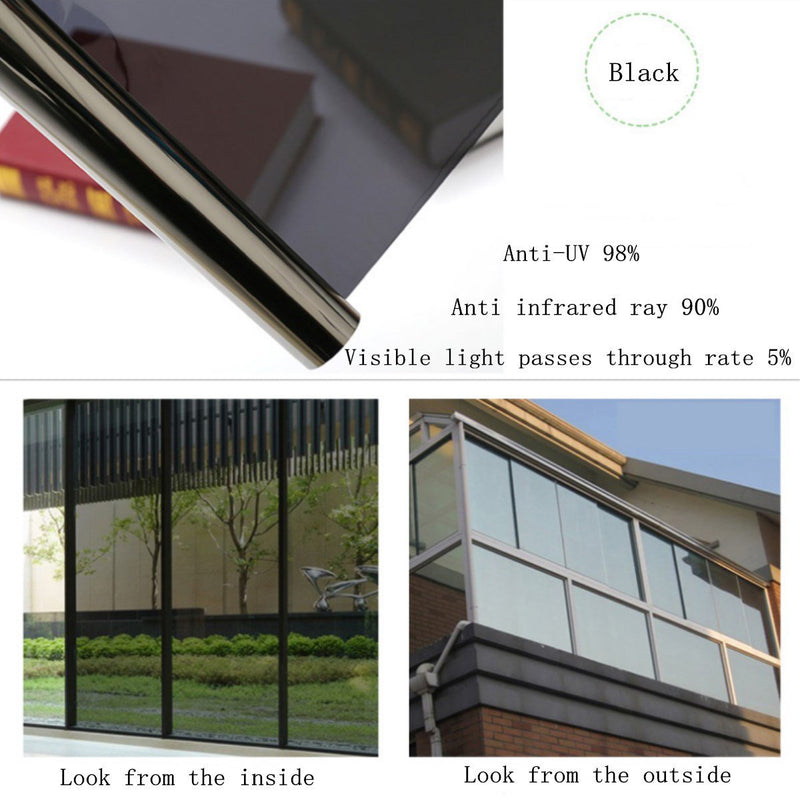"Coavas Window Film One Way Mirror Solar Film Non Adhesive Static Cling Heat Control Anti UV Window Tint for Home and Office, 35.6"" x 78.7"", Black"