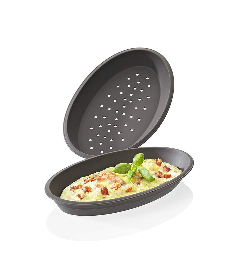 Australia Lurch Germany Flexiform Silicone Oval Pizza Molds Set of 2, Brown