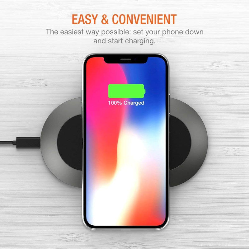 Wireless Charger, Trianium Wireless Charging Pad for iPhone XS Max XR iPhone X/iPhone 8 Plus, 10W QI Fast Wireless Charger for Galaxy Note 9, Galaxy S9 S9+ S8,Nexus, Sony, LG G7, G6 (No AC Adapter)