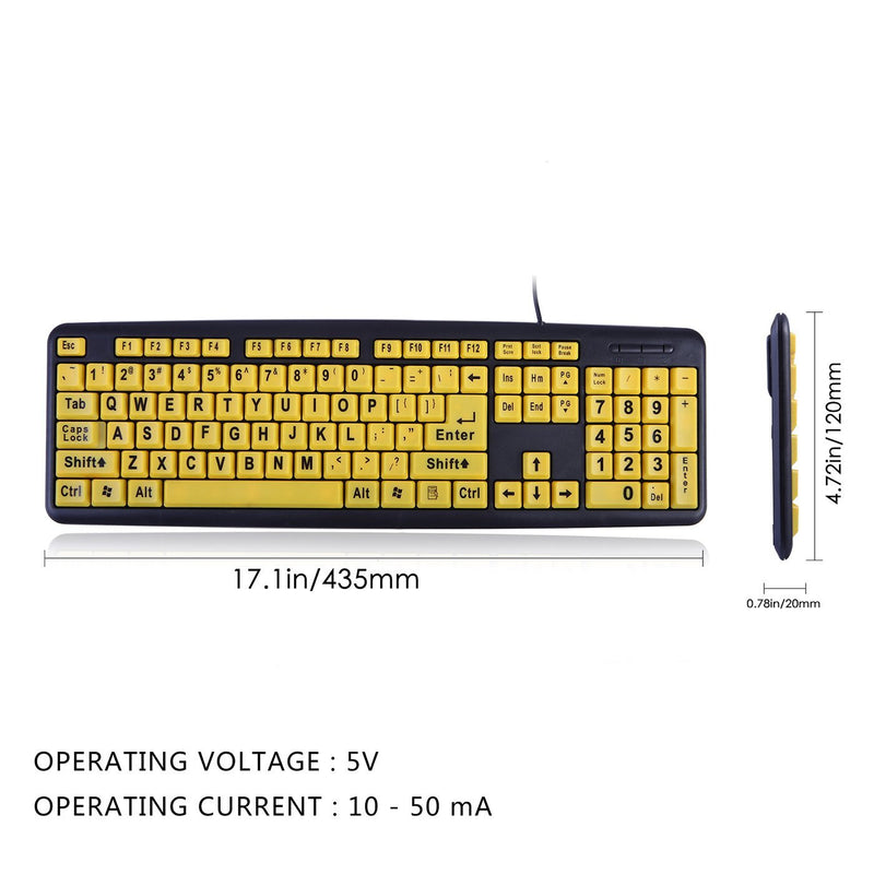 Australia HDE Large Print Computer Keyboard Wired USB High Contrast Yellow with Black Oversized Letters for Visually Impaired Low Vision Individuals