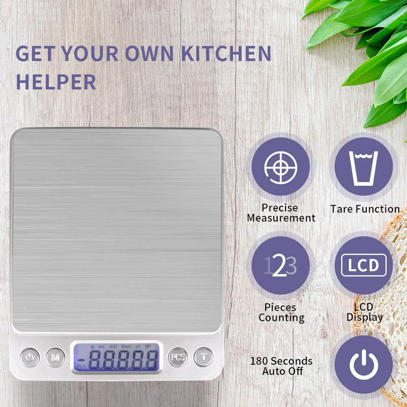 Australia Food Scale, Digital Kitchen Scale, Multifunction with LCD Display, 3000g/ 0.1g for Home Cooking, Lab, Jewlry(Battery Included)