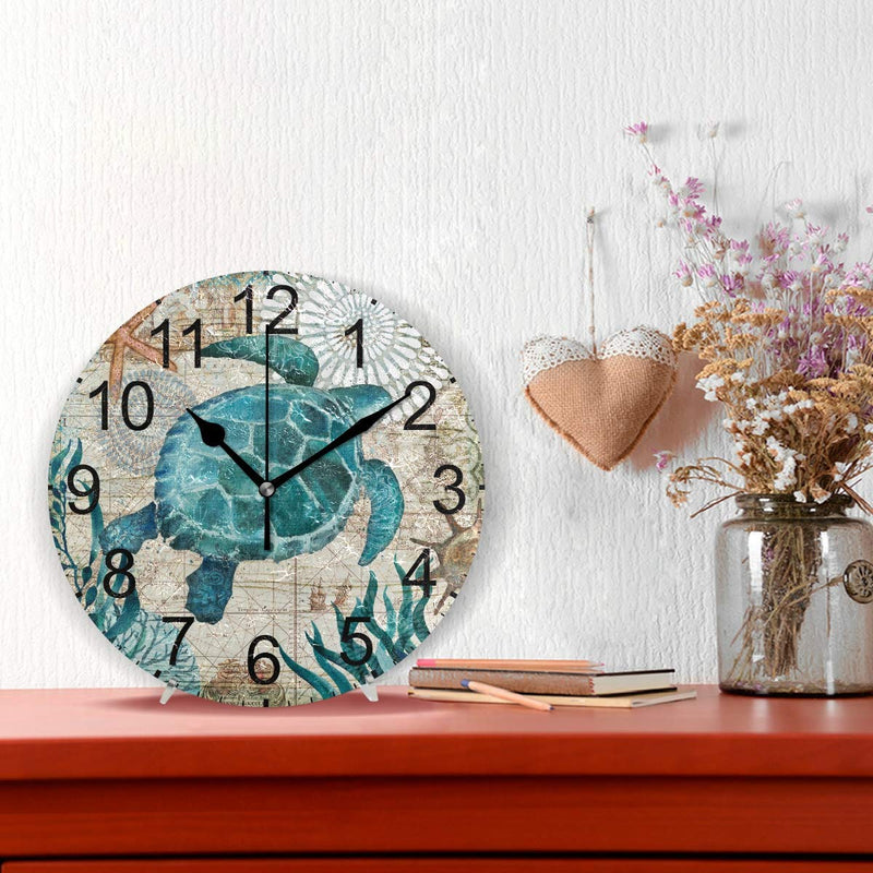 Australia LUCASE LEMON ALEX Blue Sea Turtle Nautical Map Round Acrylic Wall Clock Non Ticking Silent Clocks for Home Decor Living Room Kitchen Bedroom Office School