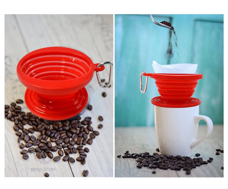 Wolecok Silicone Collapsible Coffee Dripper, Cone Coffee Filter, Pour over Coffee Maker Red