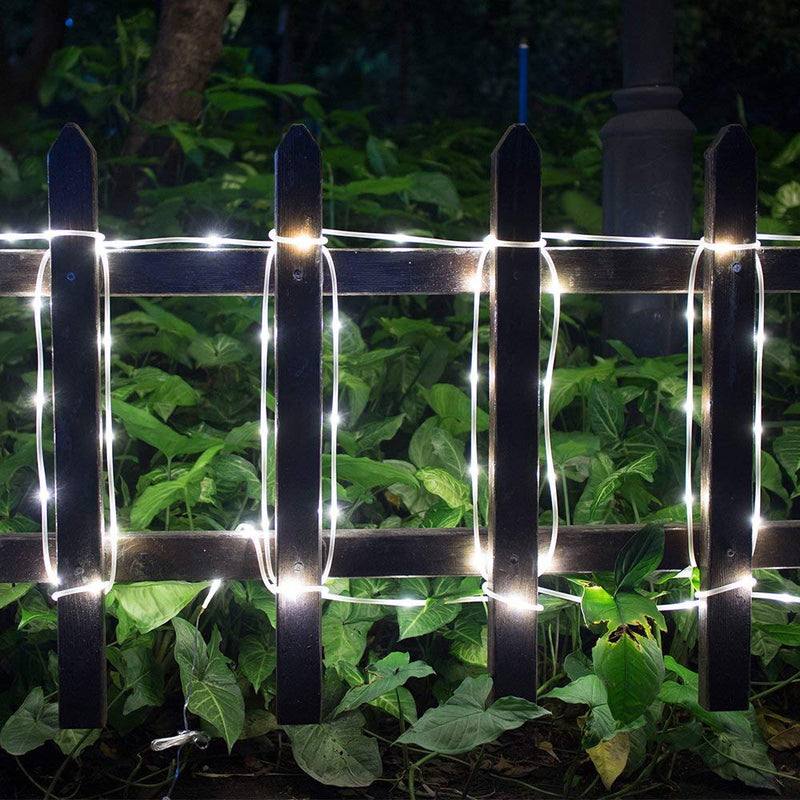 Australia IMAGE 8 Modes Solar Rope String Lights, 10M/33FT 100LED,2400mah High Capacity Battery Starry Fairy Lights for Indoor/Outdoor Decorations/Garden/Patio/Party-White