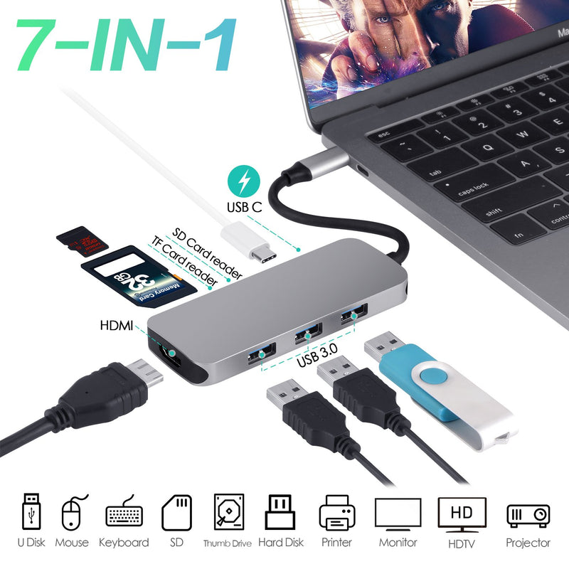 USB C to HDMI Adapter, USB Type C Hub HDMI 4K with PD+3USB3.0+SD/TF Card Reader 7 in 1 Multiport Compatible with MacBook Pro 2018/2017/2016, Samsung Galaxy Note 8/Note 9/S8/S8+/S9/S9+