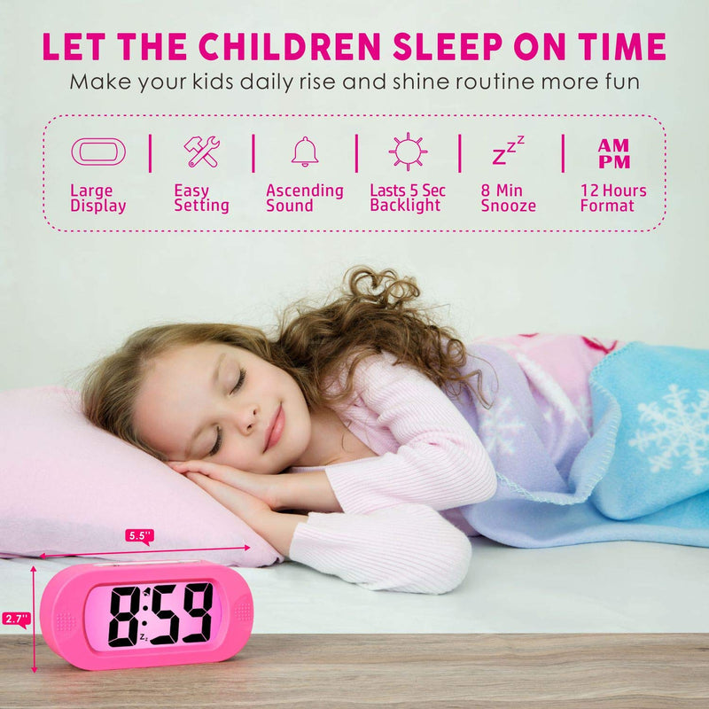 Australia Easy to Set, Plumeet Large Digital LCD Travel Alarm Clock with Snooze Good Night Light, Ascending Sound Alarm & Handheld Sized, Best Gift for Kids (Pink)