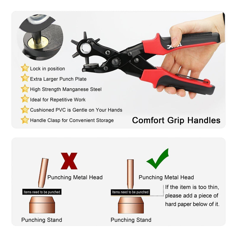 Australia Revolving Punch Plier Kit, Punch Hole Tool including Punch Plier, Brass Pad, Screwdriver and Grinding Rod for Belt, Saddle, Watch Strap, Shoe, Fabric, Paper, etc