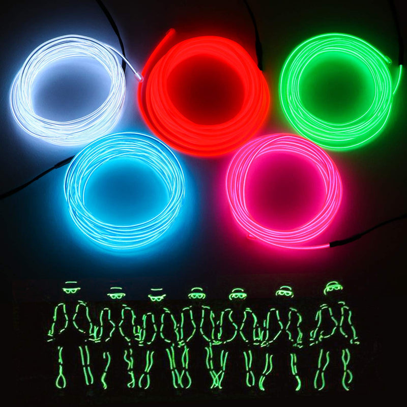 Australia CPPSLEE EL Wire Kit Super Bright Portable Neon Light - 5 Color & 9.8 ft/pc - for Christmas Halloween Party DIY Decoration - 4 Modes Battery Controllers