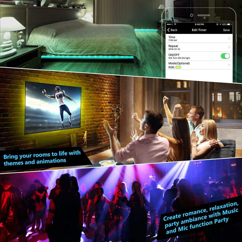 Nexlux LED Strip Lights, WiFi Wireless Smart Phone Controlled Light Strip LED Kit 5050 LED Lights,Working with Android and iOS System,Alexa, Google Assistant