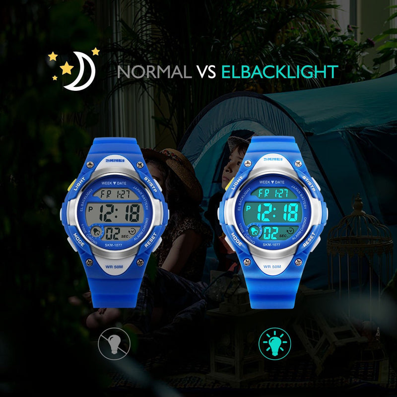 Australia Boys Sport Digital Watch, Kids Outdoor Waterproof Electronic Watches With LED Alarm Stopwatch - Blue