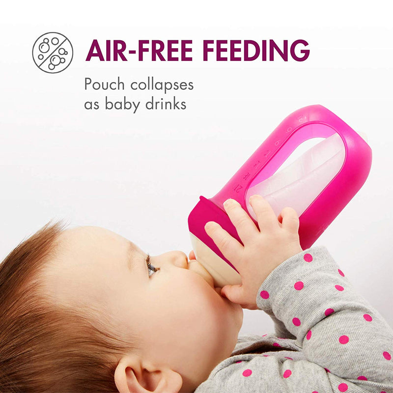 Boon, NURSH Reusable Silicone Pouch Bottle, Air-Free Feeding, 8 Ounce with Stage 2 Medium Flow Nipple (Pack of 3)