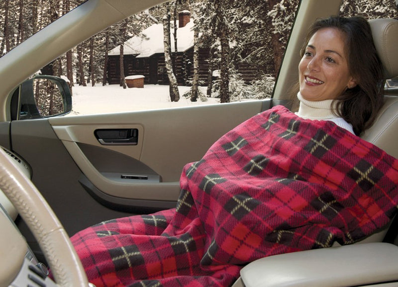 Heated Fleece Travel Electric Blanket - 12 Volt - Red Plaid Australia
