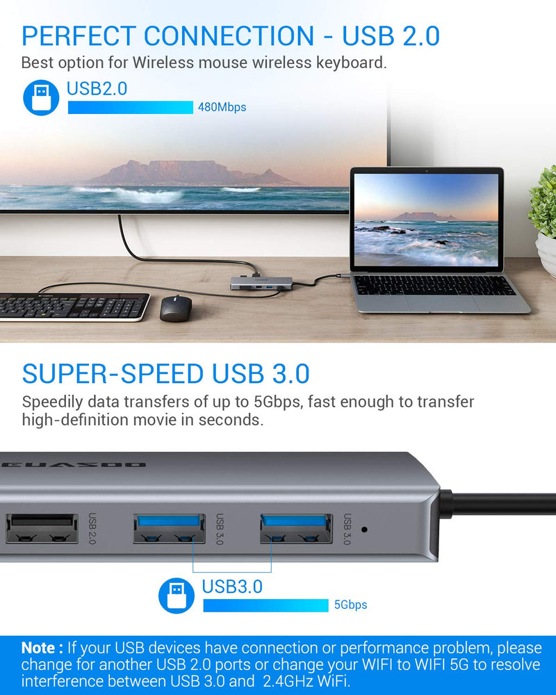 USB C HUB, EUASOO 11 in 1 Triple Display USB C Adapter Docking Station with 2 HDMI, 2 USB3.0, 2 USB2.0, 87W Pd 3.0, Ethernet, SD/TF Card Reader, Audio/Mic 2-in-1 Compatible for MacBook and Windows