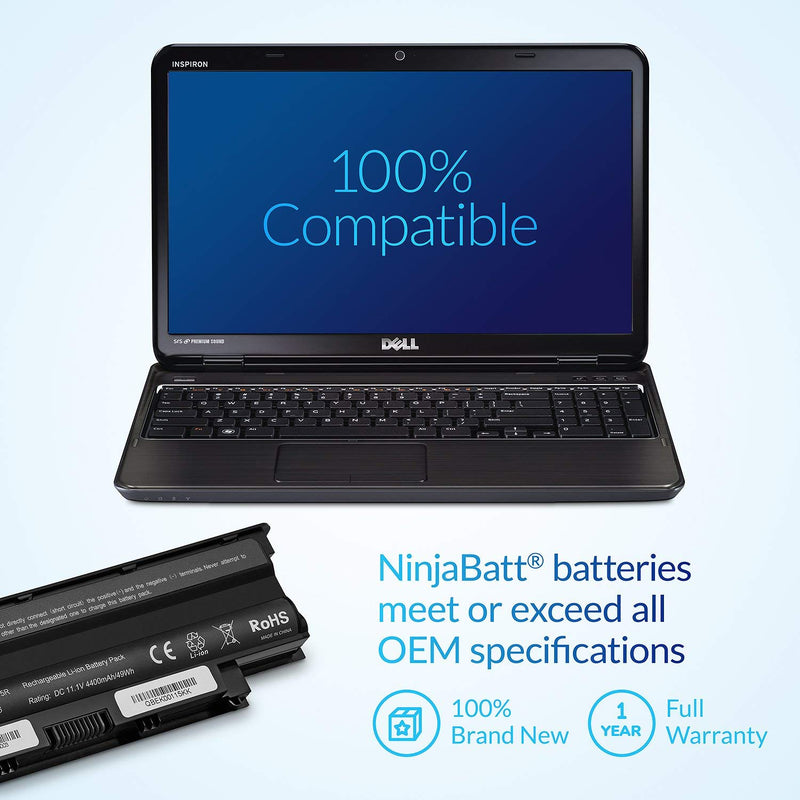 Australia NinjaBatt Laptop Battery for Dell J1KND Inspiron N5110 N7110 N5050 N7010 N5010 N4110 N4010 N5040 N5030 M5030 3520 15R 17R Vostro 1540 3750 3550 312-1201 312-0234 - High Performance [6 Cells/4400mAh]
