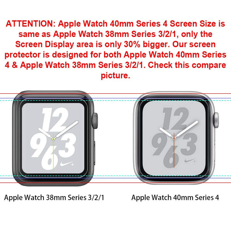 LK [6 Pack] Screen Protector for Apple Watch 40mm / 38mm (Series 4/3/2/1 Compatible), LiquidSkin Max Coverage Screen Protector [HD Clear Anti-Bubble Film] with Lifetime Replacement Warranty