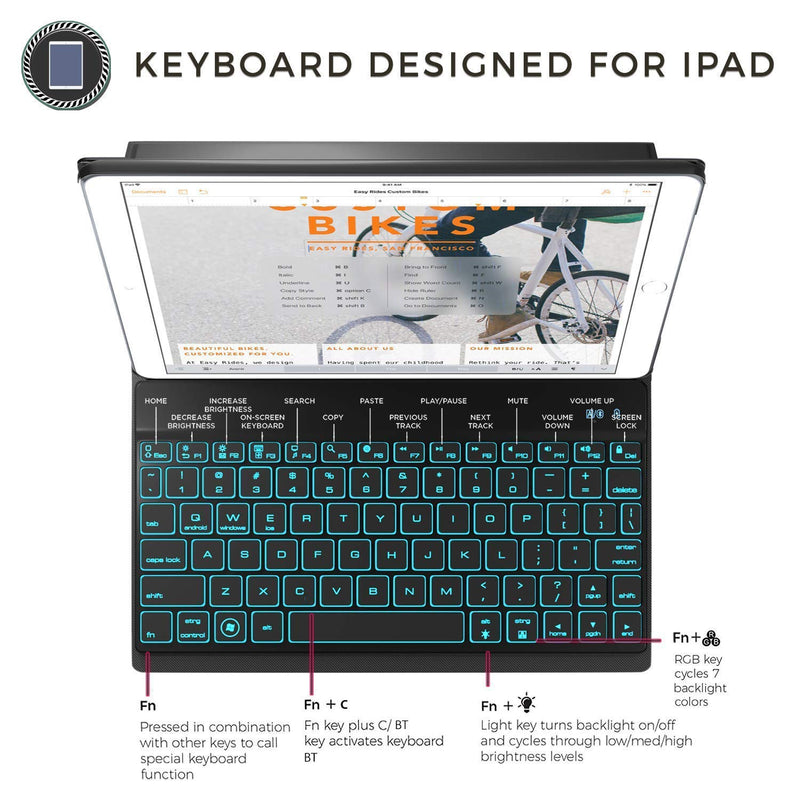 iPad Keyboard Case for New 2018 iPad, 2017 iPad, iPad Pro 9.7, iPad Air 1 and 2 - BT Backlit Detachable Quiet Keyboard - Slim Leather Folio Cover - 7 Color Backlight - Apple Tablet