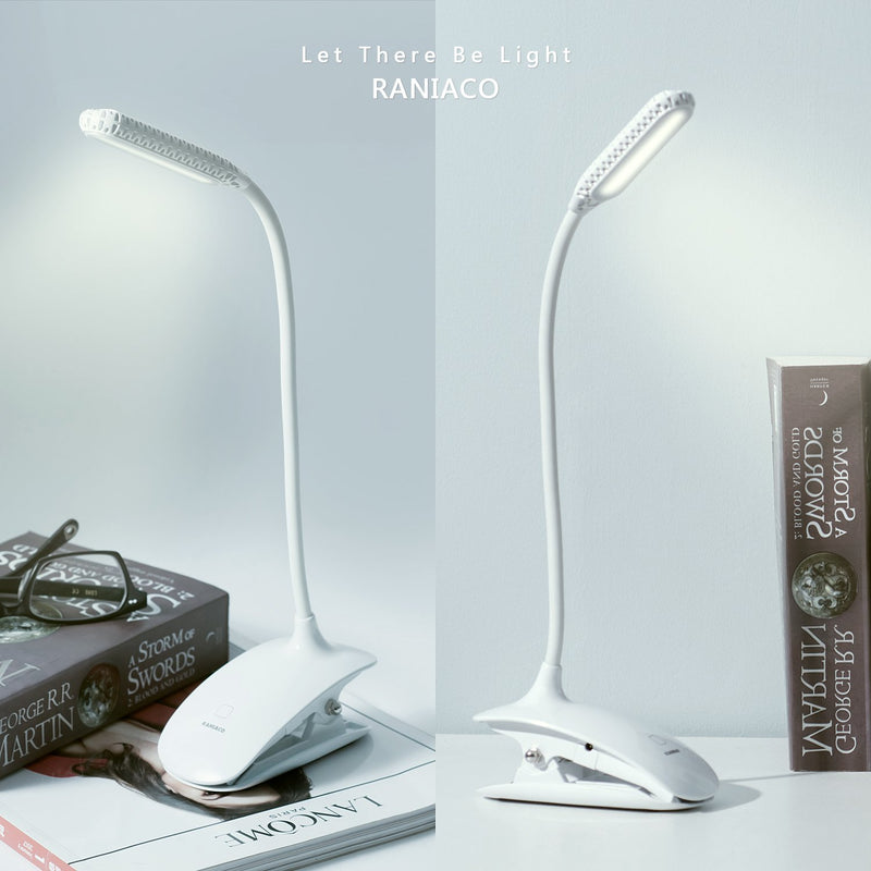 Led Clip Reading Daylight 12 Leds Lamp 3 Brightness USB Rechargable