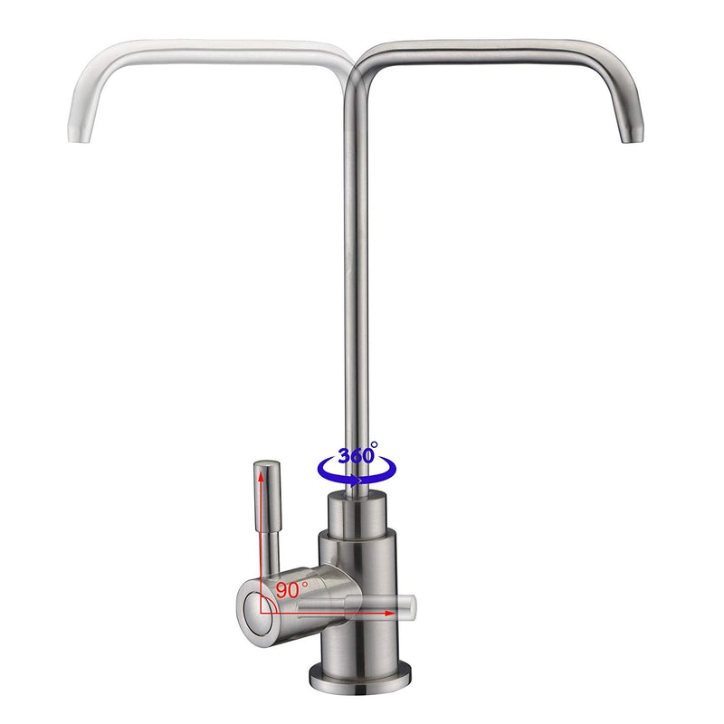Australia SUCASA Single Handle Drinking Water Faucet, Lead-Free Solid Brass Body and Stainless Steel Swivel Spout Filtered Water Faucet RO Filter System Fixture, Brushed Nickel