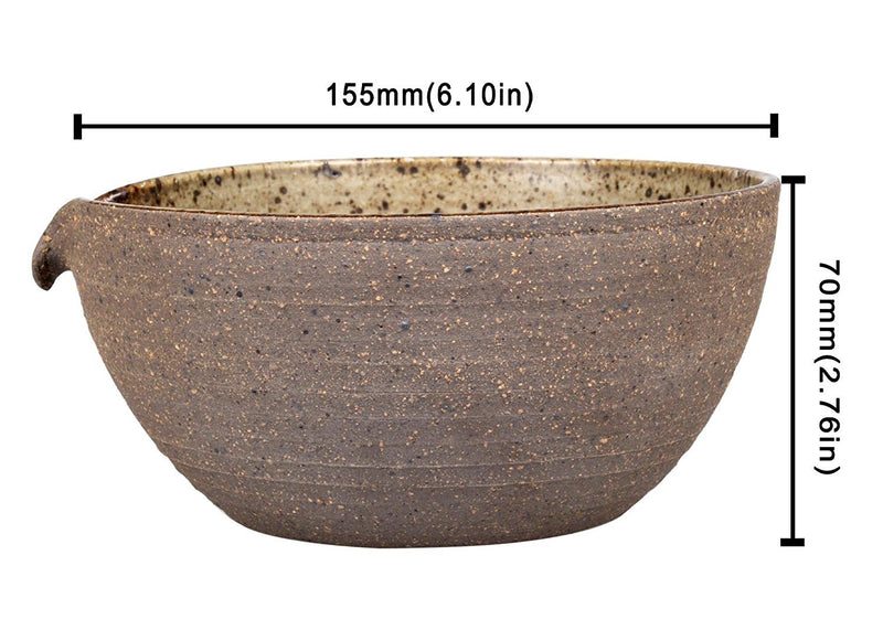Brightea Matcha Green Tea Bowl Chawan with Spout Pottery Clay Large