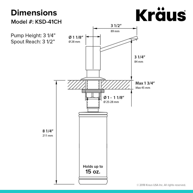 Australia Kraus KSD-41CH Modern Soap Dispenser, Chrome