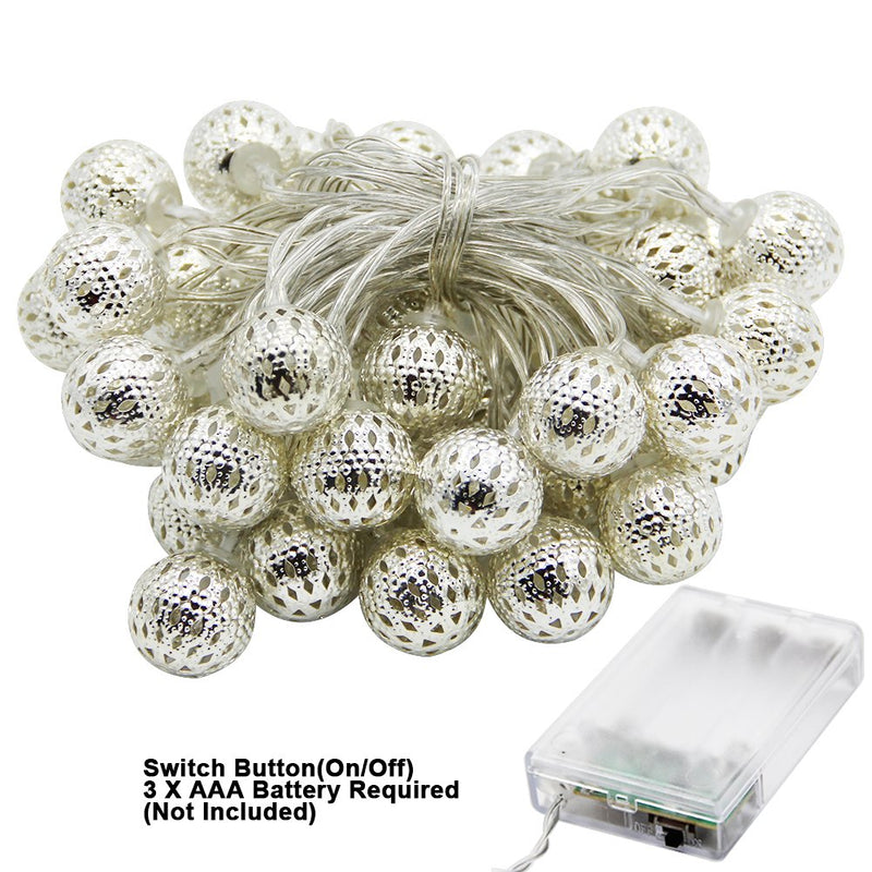 Australia Twinkle Star 13.5 ft 40 LED Globe String Lights, Sliver Moroccan Party Hanging Lights Battery Operated Decor for Indoor, Home, Bedroom, Party, Wedding, Christmas Tree (Warm White)