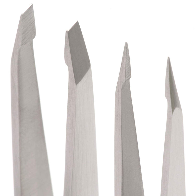 Harperton Pluckit - Professional Tweezers Set - Slant + Pointed Precision Tips